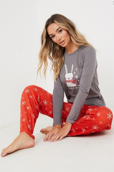 Red Christmas Long Pyjama Set